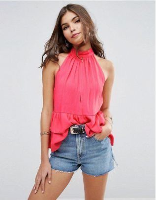 ASOS Plunge High Neck Top in Crinkle